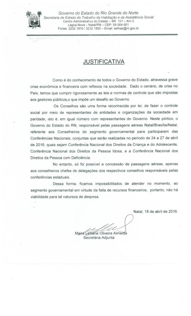 JUSTIFICATIVA DO GOVERNO DO ESTADO - SETHAS - CASADAPTADA