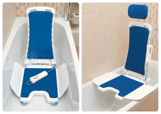 Bellavita - Absolute Mobility   Uma cadeira de banho leve e com controle à prova de água, o qual abaixa e eleva o usuário na banheira, e também reclina o encosto até 50 graus. Fonte: http://www.absolutemobility.co.uk/product/the-bellavita/