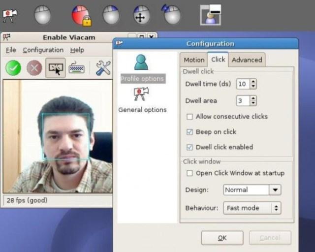 Enable Viacam é um aplicativo que possibilita controlar o movimento do mouse com a WEB CAM, através de movimentos feitos com a cabeça