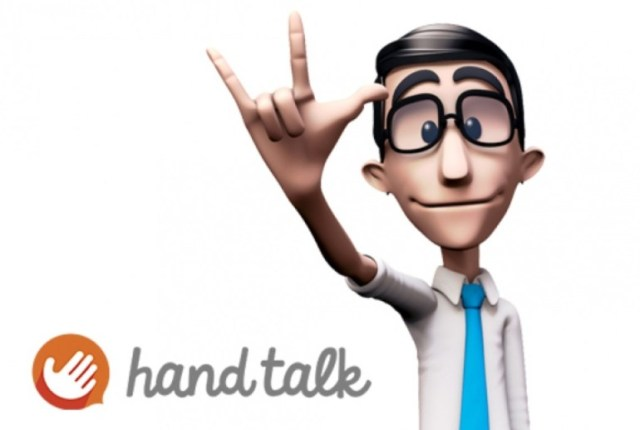 O Hand Talk traduz texto e voz para a língua de sinais brasileira (Libras) em smartphones, tablets e também nos sites na internet