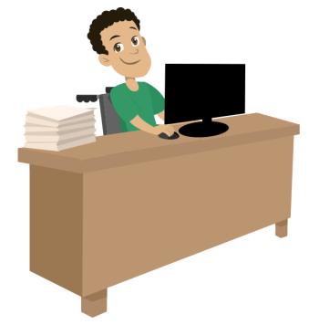 Homem cadeirante preenchendo documentos online, através do computador