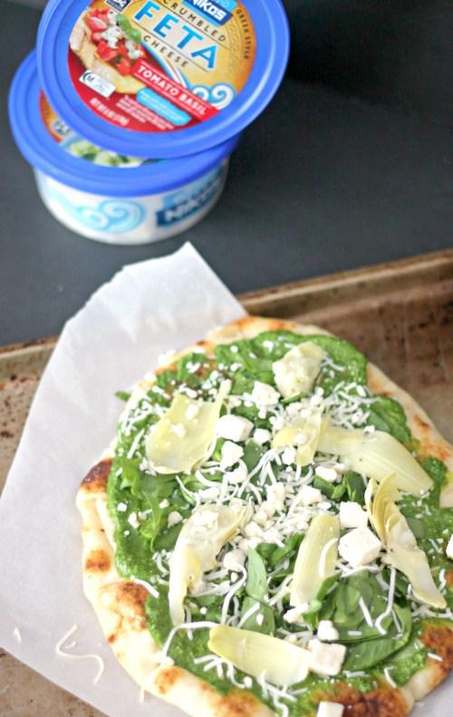 Spinach Artichoke and Pesto Naan with Feta