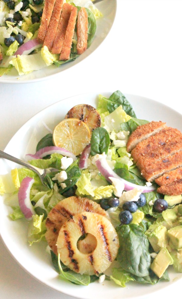 Grilled Chicken Salad with fruit and a honey-lime vinaigrette