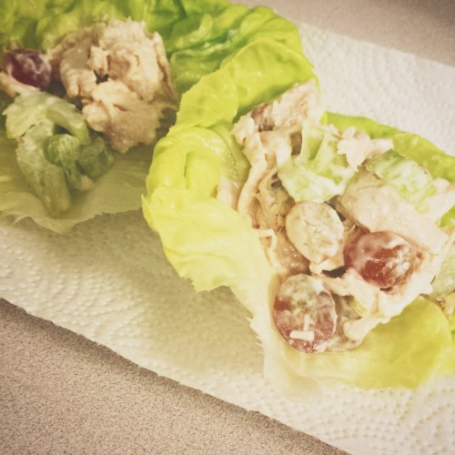 Chicken Salad w/ compliant mayo, grapes, and celery (garlic + onion powder)
