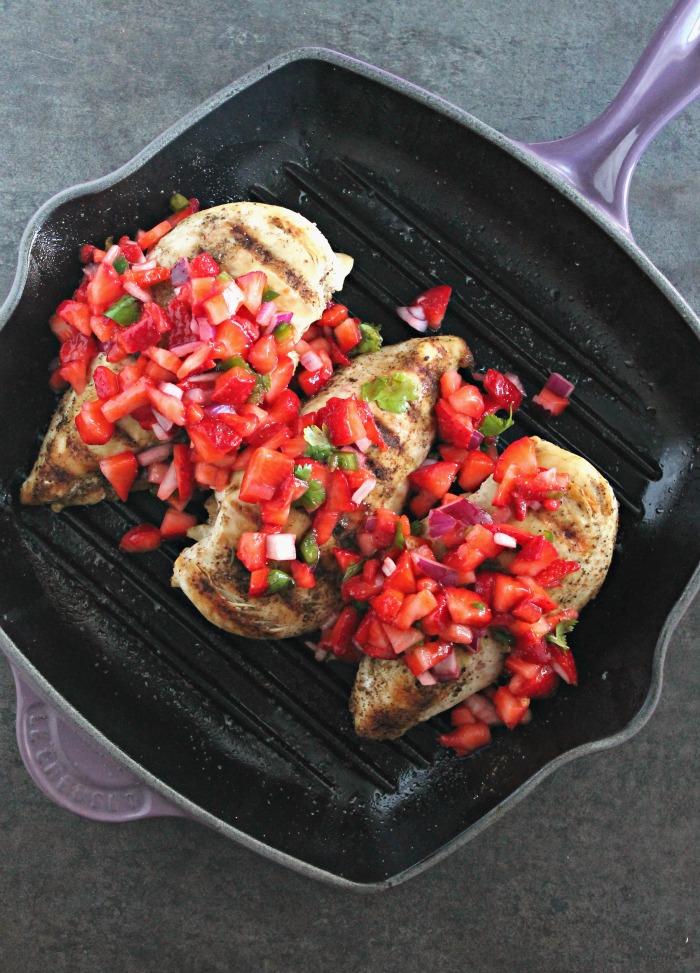Chicken Fajitas with Strawberry-Jalapeno Salsa