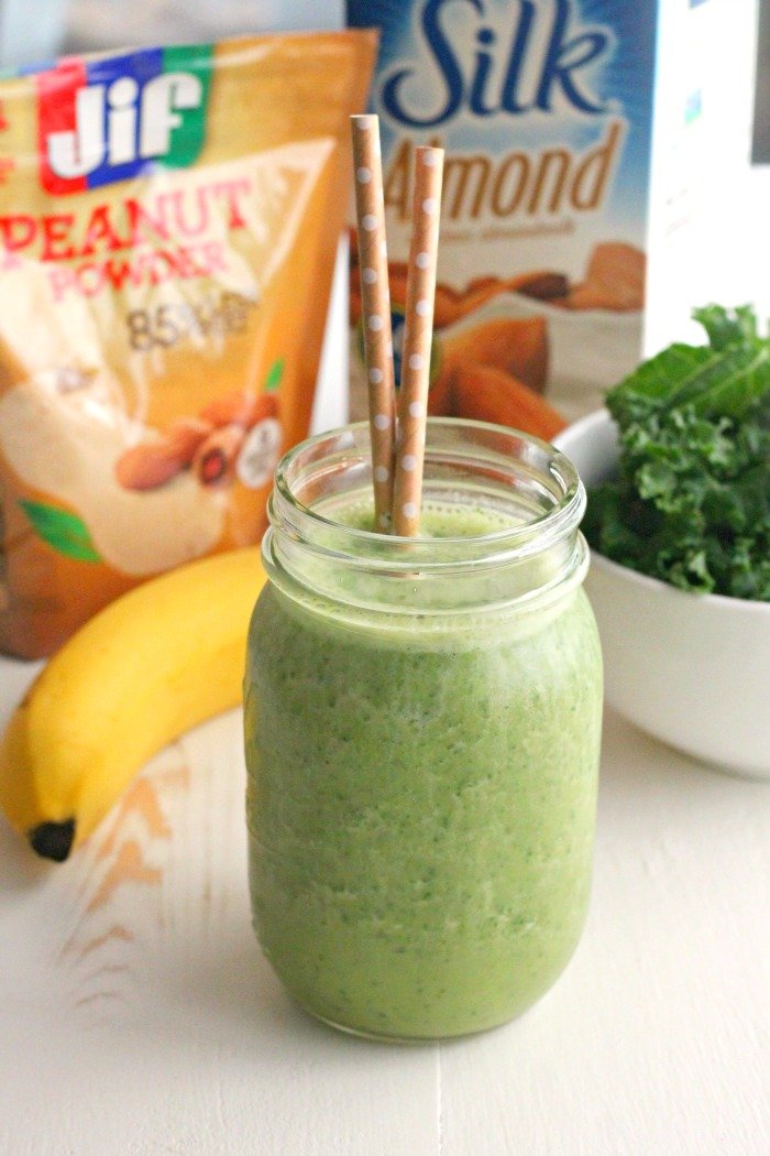 Kale, Banana and Peanut Powder Smoothie #StartWithJifPowder