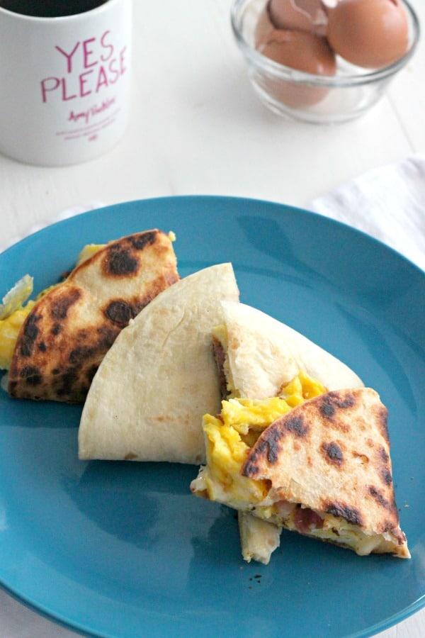 Breakfast Quesadillas with Bacon and Cheesy Eggs #BrunchWeek