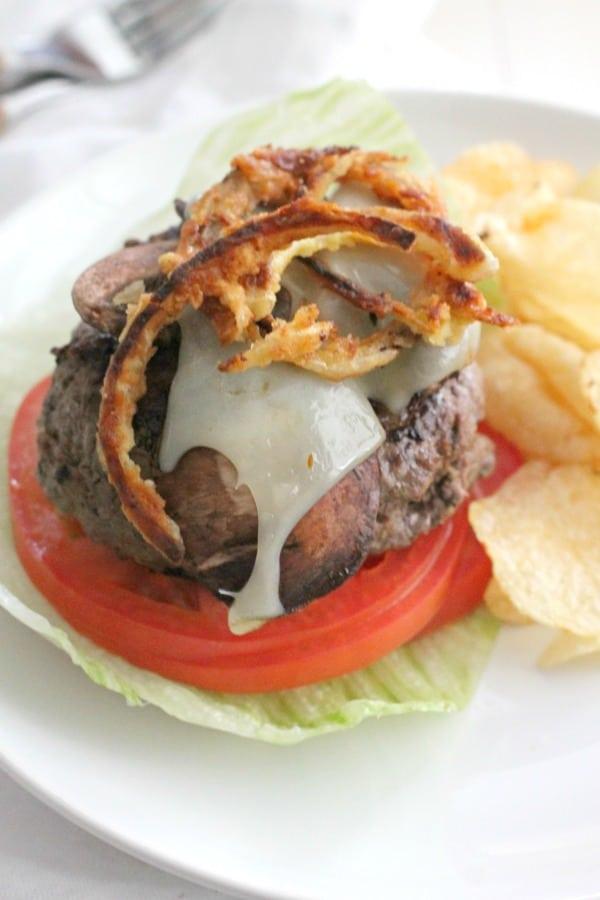 Mushroom Swiss Burger w Crispy Onions