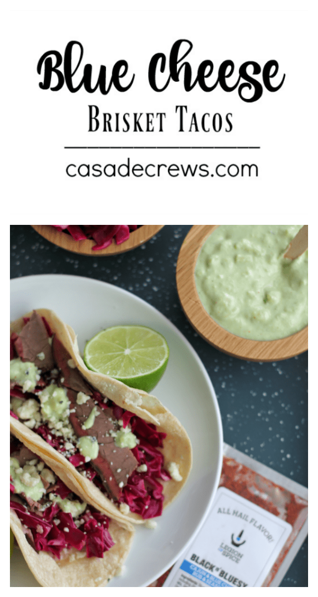 Blue Cheese Brisket Tacos | casadecrews.com