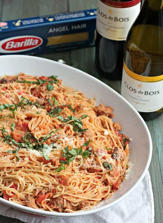 Angel Hair Pasta with Sausage, and Tomato Cream Sauce | casadecrews.com