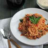 Angel Hair Pasta with Sausage, and Tomato Cream Sauce [video]