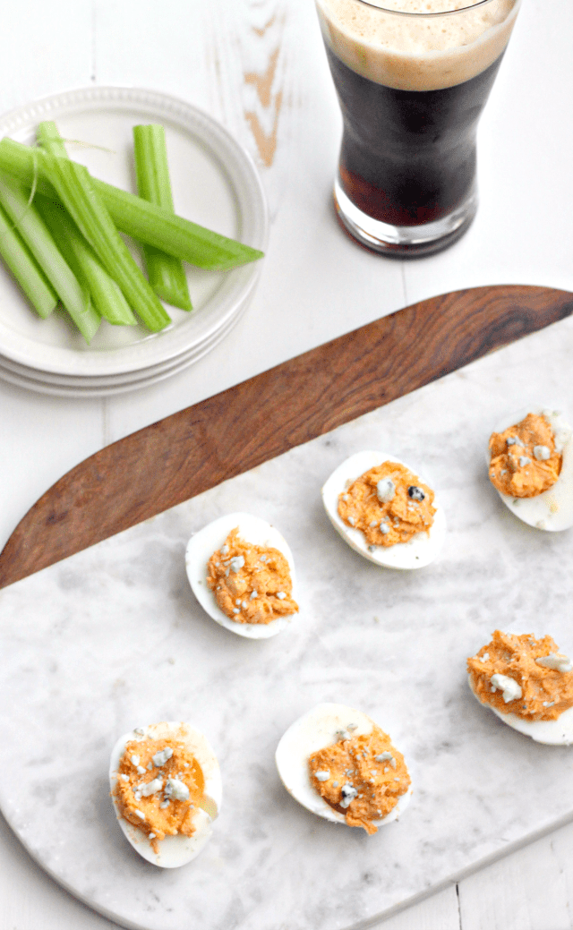 Buffalo Chicken Deviled Eggs | casadecrews.com
