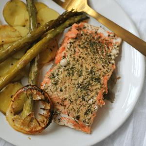 Dijon Salmon Sheet Pan Dinner #SundaySupper