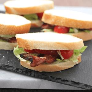 BLT Crostini Sliders with Avocado Aioli #SundaySupper