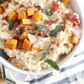 Butternut Squash Risotto with Bacon and Fried Sage