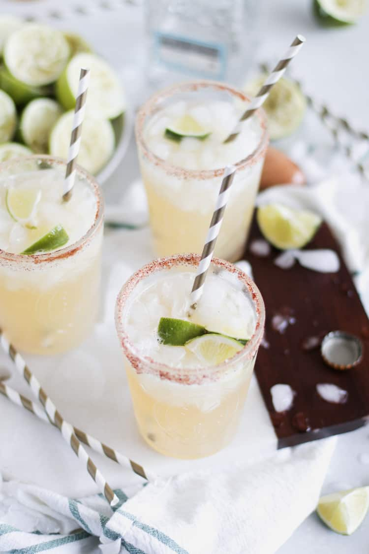When you can't decide between a margarita, or a Corona, sip on a Beer Margarita; the best of both worlds! Made with fresh squeezed lime juice.