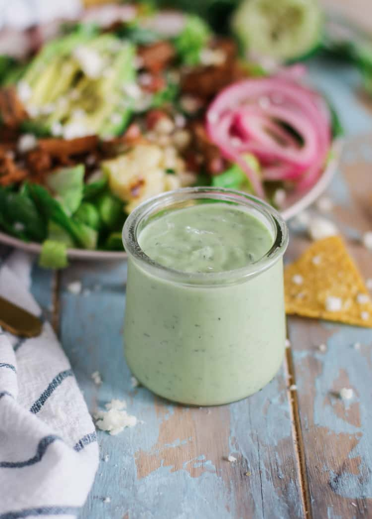 Clean-eating, homemade ranch dressing made with buttermilk, Greek yogurt, and fresh avocado, this ranch dressing is so versatile, you could use it for salads, or as a dip at any shindig!