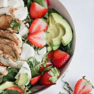 strawberry caprese chicken salad with a maple balsamic vinaigrette