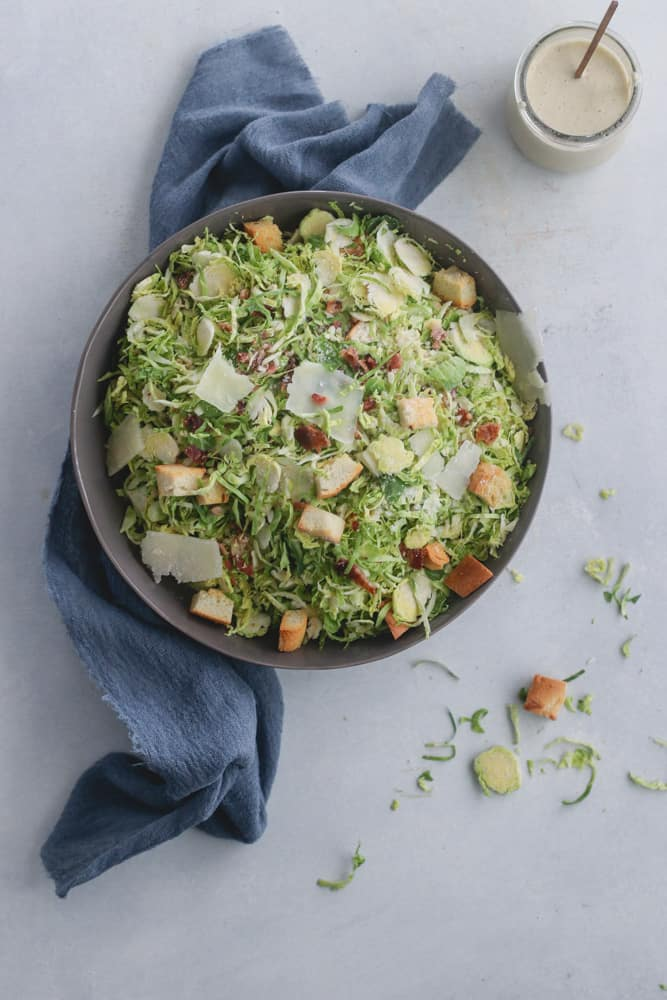 shredded brussels caesar salad