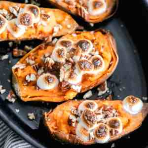 twice baked sweet potato skins with toasted marshmallows