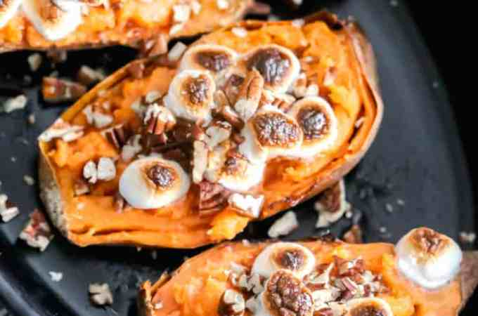 twice baked sweet potato skins with toasted marshmallows
