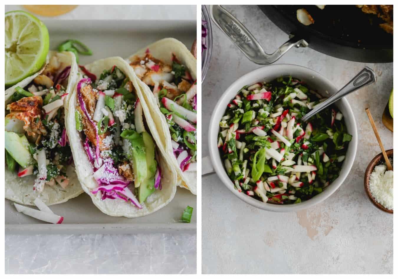 Fish Tacos with Cilantro-Radish Salsa