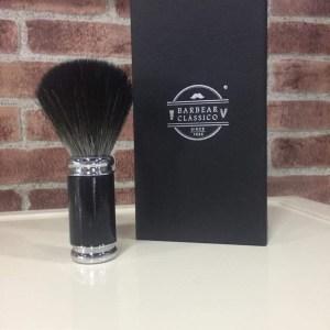 Pincel de barbear sintético preto