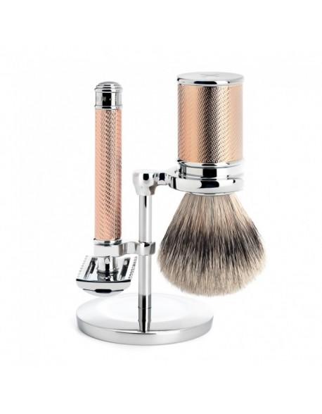 Conjunto de barbear tradicional Mülhe de 3 peças Rose gold