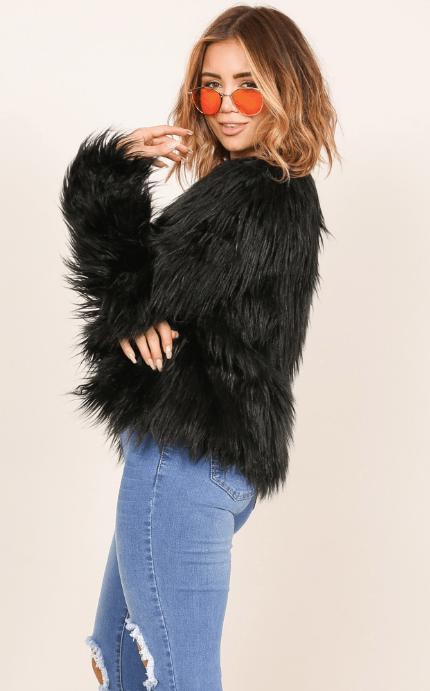 faux fur coat in black - australian online