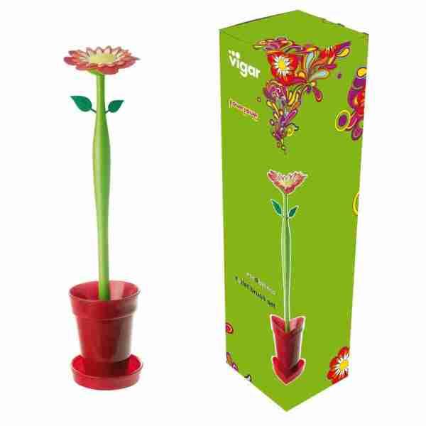 P.ta scopino wc Vigar flower power Vaso rosso
