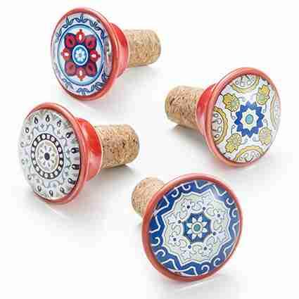Tappo in sughero decoro cementine pomello ceramica Montemaggi