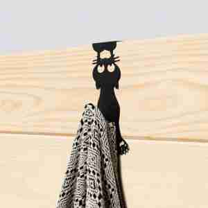 Appendino porta Curious Cat nero metallo BALVI ART.27039