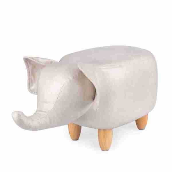 Sgabello Elephant grigio finta pelle/legno Balvi ART.27173