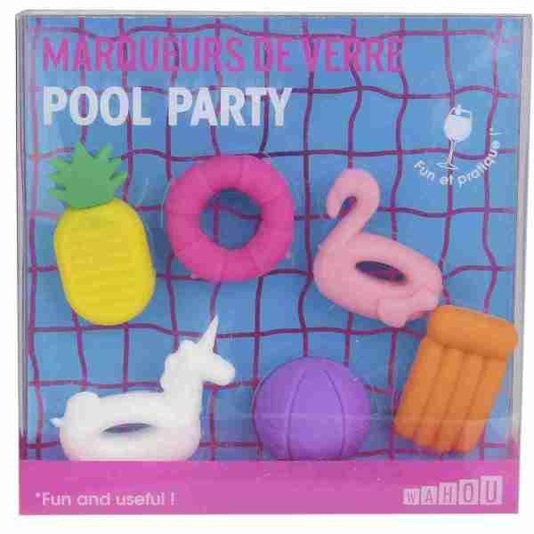 Set 6 segnabicchieri Pool party