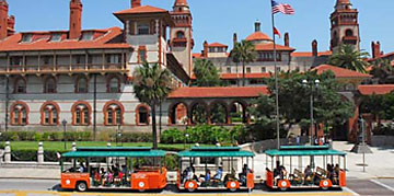 Trolley passing Flagler College
