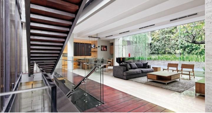 ruang tamu minimalis segar dengan teras