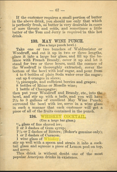 Old Fashioned Whiskey Cocktail 1882 Recipe