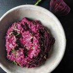 Close up of beet hummus in bowl