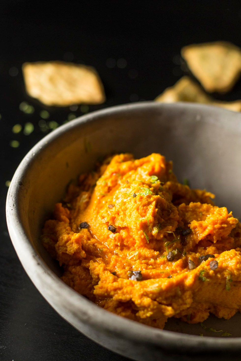 Close up of Carrot Hummus in a bowl