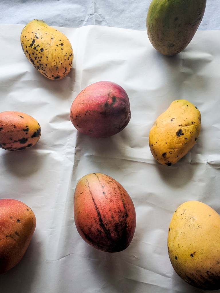 Mangoes on a table