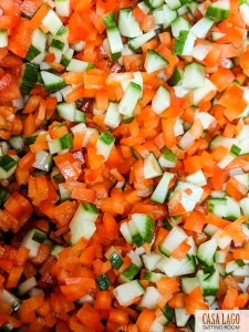 Close up chopped vegetables
