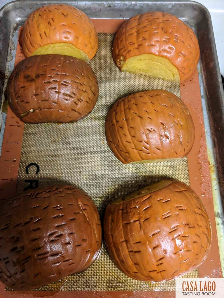 Pumpkins on sheet tray for roasting