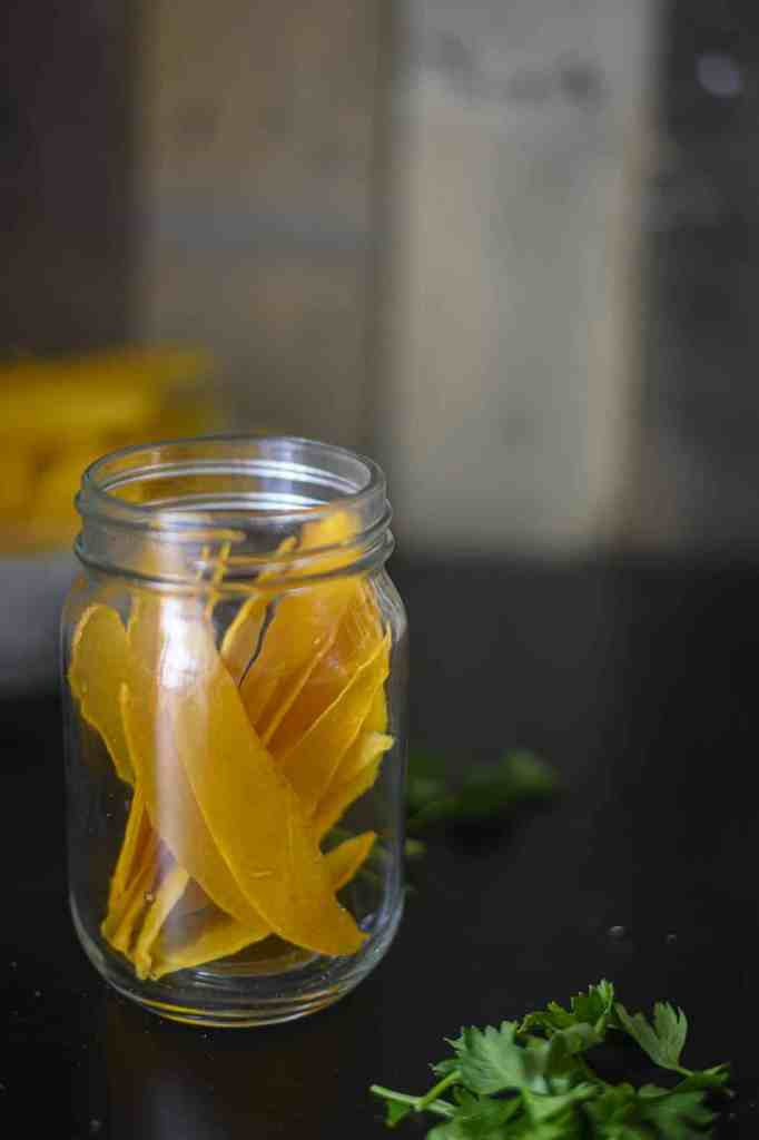 Crispy Mango Chips in a glass jar