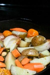 vegetables before roasting in skillet