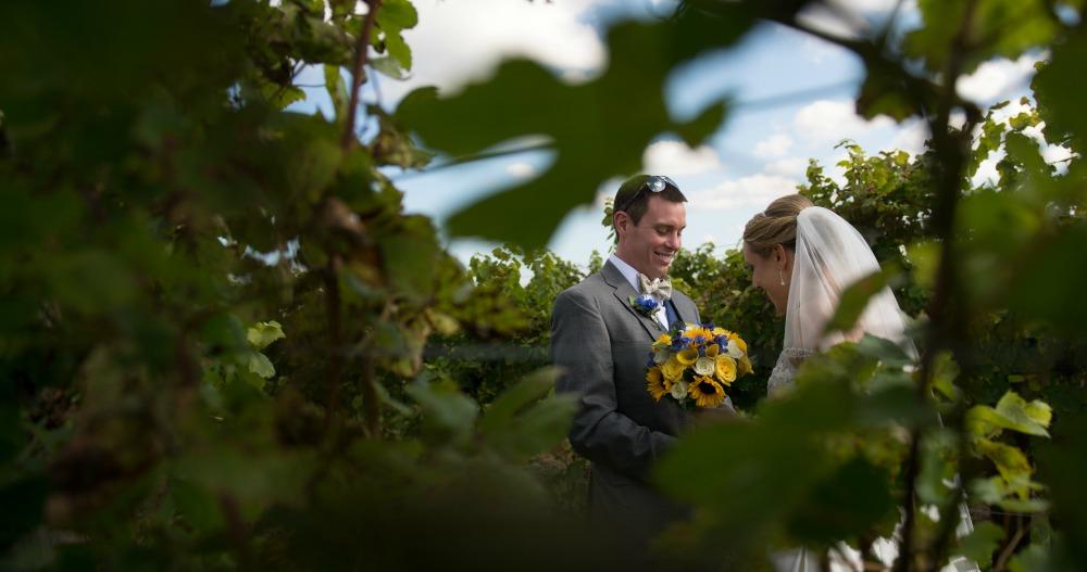 Couple in vineyards, Wedding Receptions and Ceremonies at Casa Larga Vineyards
