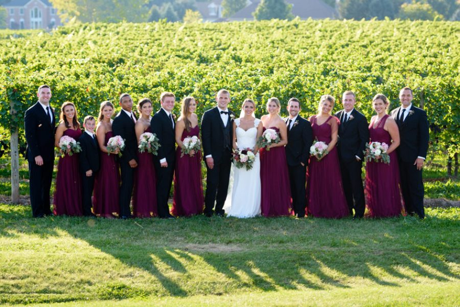 Bridal Party in the vineyards, Wedding Ceremonies and Receptions at Casa Larga Vineyards