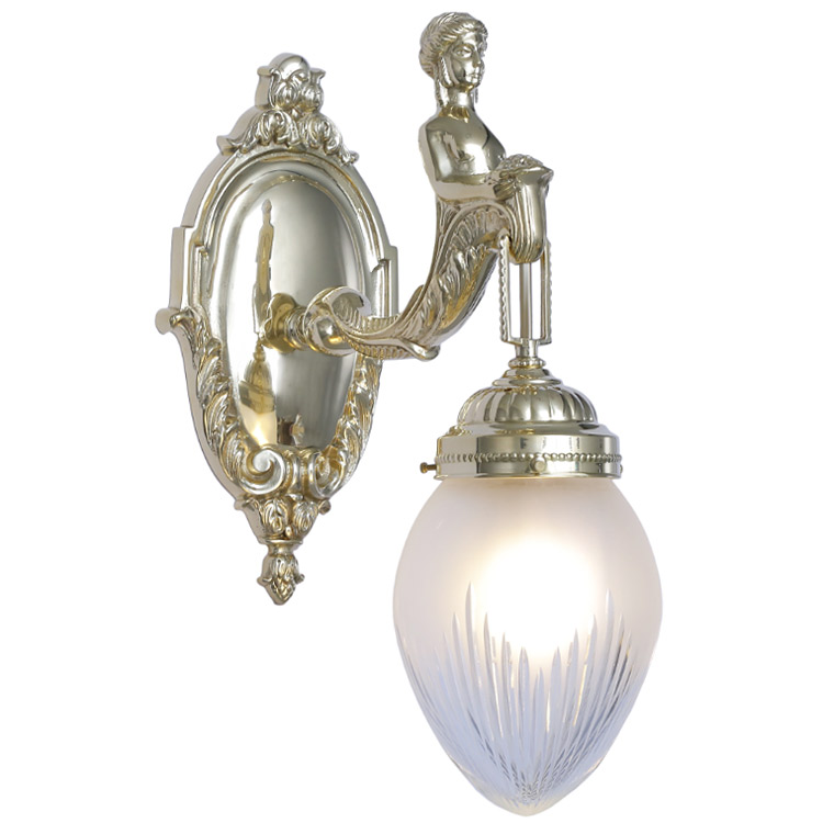 baroque wall lamp with figurative