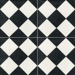 carreau de ciment colore damier noir et blanc nb05