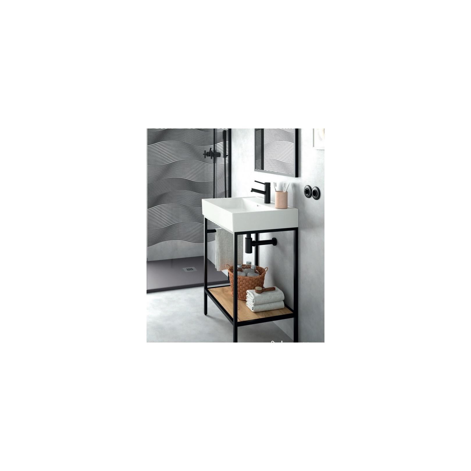 meuble sur pied vinci largeur 61 81 101 ou 121cm structure alu laque noir et chene africain avec vasque veneto ceramique casalux home design