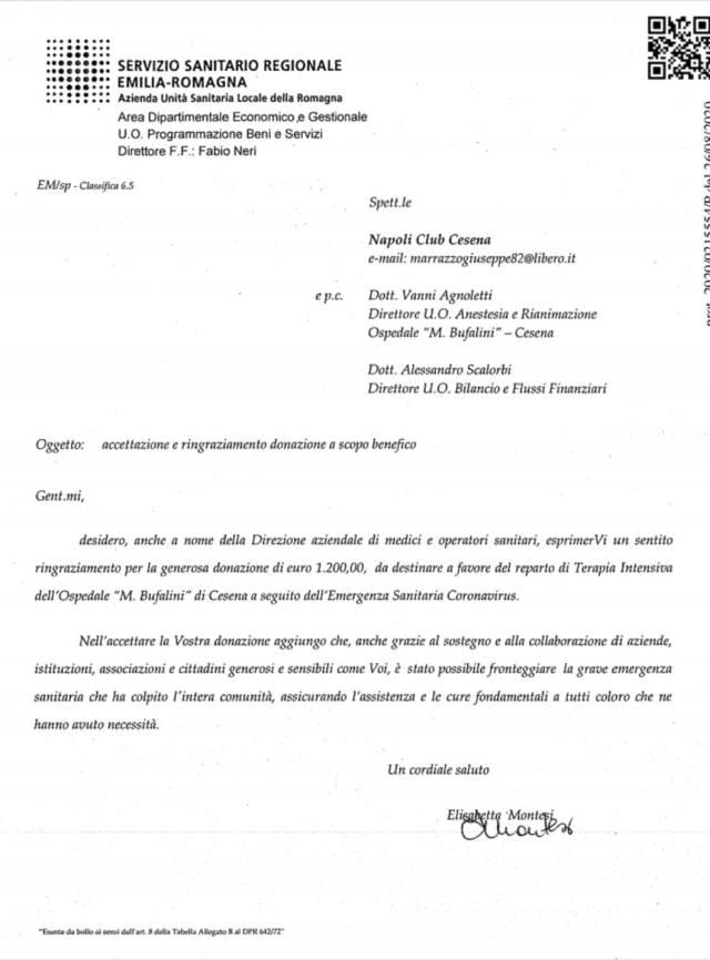 Comunicato Napoli club cesena
